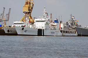 Indian Coast Guard Ships Vijaya (34) and Samar (42).jpg