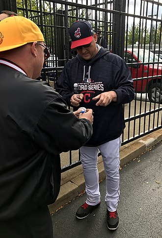 Terry Francona - Francona signing autographs during the 2016 World Series