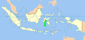 Map showing Gorontalo province in Indonesia