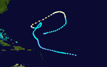 Map showing the path and intensity of Hurricane Inga