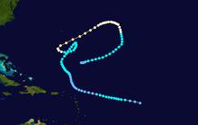 Mapa zobrazující cestu a intenzitu hurikánu Inga