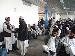 Pashtun clothing - Image: Inside The Old Terminal Of Kabul International Airport
