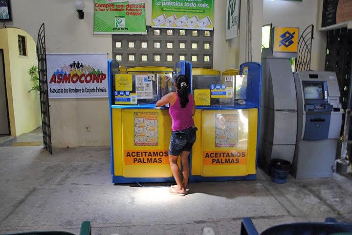 Inside banco palmas woman