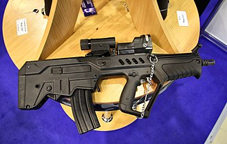 IWI Tavor X95 - A CTAR-21 copy. Notice the cocking handle position, the handguard, and the stock form and size.