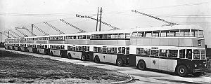 Trolleybuses in Ipswich - A delivery photo of 10 Ipswich trolleybuses, 1937.