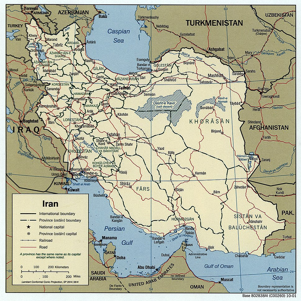 Iran 2001 CIA map