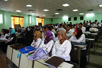 Students at the college of medicine of the University of Basrah, 2010. Iraqi medical students at Basra University College of Medicine (2010).JPG