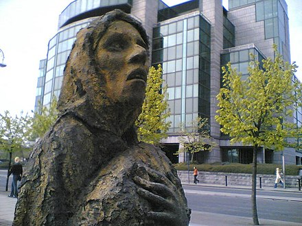 A memorial to the Great Famine (Ireland), a famine event in Ireland that faced elongated suffering from the UK's domestic policy failures at the time under the Prime Ministers Sir Robert Peel and Lord John Russell.