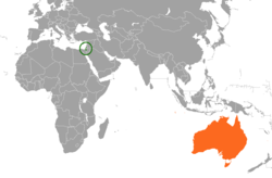 Map indicating locations of Israel and Australia