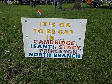 It's okay to be gay... sign at ECM Pride 2018.jpg