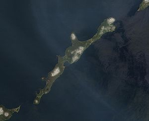 Iturup - NASA image of Iturup with the volcano Berutarube at the southern end of the island