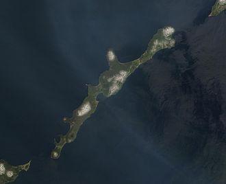 Iturup - NASA image of Iturup with Berutarube volcano at the southern end of the island