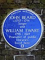 JOHN BEARD c. 1717-1791 Singer and WILLIAM EWART 1798-1869 Promoter of public libraries lived here.jpg