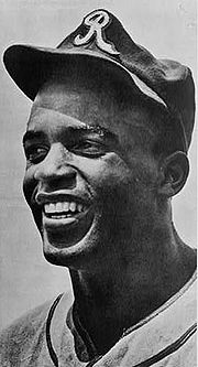 Jackie Robinson in 1945, with the era's Kansas City Royals, a barnstorming squad associated with the Negro American League's Kansas City Monarchs JackieRobinson1945.jpg