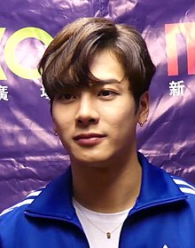 Jackson Wang at MOKO New Year countdown event backstage interview, 15 February 2018 01.jpg