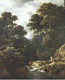 Jacob van Ruisdael - Wooded mountainous landscape with fishermen and resting travellers near a waterfall.jpg