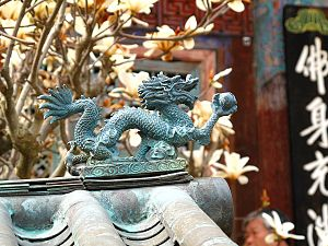 Gijang County - Dragon metalwork at Jangangsa temple