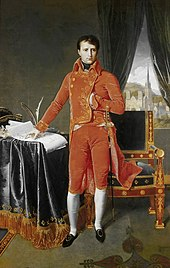 Bonaparte, First Consul, by Ingres. Posing the hand inside the waistcoat was often used in portraits of rulers to indicate calm and stable leadership. (Source: Wikimedia)