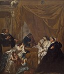 Jean Francois de Troy - St Vincent de Paul at the Deathbed of Louis XIII - KMS7697 - Statens Museum for Kunst.jpg