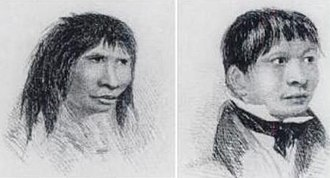 Jemmy Button - Two views of Jemmy Button from FitzRoy's Narrative (1839).
