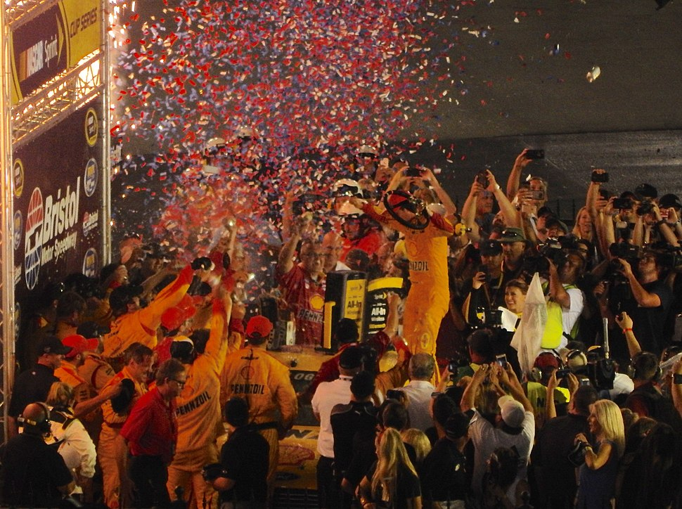 Joey Logano in victory lane at Thunder Valley