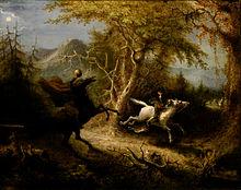John Quidor's 1858 painting The Headless Horseman Pursuing Ichabod Crane, inspired by Washington Irving's work (Source: Wikimedia)
