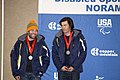 Jonathan Walsh and guide, Jonathan Wong, on the podium for standing men's giant slalom visually impaired.jpg