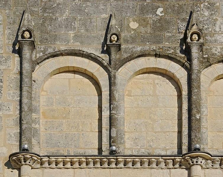 Blind arcade and pinnacles, church of Jonzac (facade), Charente-Maritime, France