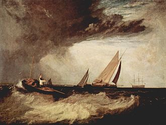 Shoeburyness - Shoeburyness Fisherman Hailing a Whitstable Hoy by J. M. W. Turner, 1809