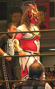 An adult male wrestler wearing a full-body costume that is red, white, and yellow. A mask covers his face, with long brown hair hanging from the back.