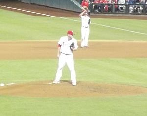 Justin De Fratus - On September 7, 2013, De Fratus peers at the catcher for a sign in a Phillies game