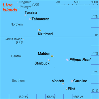 Line Islands Chain of eleven atolls and low coral islands in the central Pacific Ocean