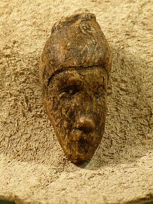 Dolní Věstonice (archaeology) - Carved female head from Dolní Věstonice, Krahuletz-Museum (replica)