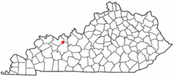Location of Whitesville, Kentucky