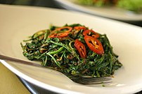 Stir-fried kangkung with blachan seasoning, Pe...