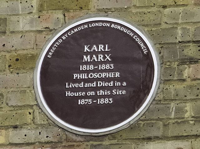 Karl Marx claret plaque - Karl Marx 1818-1883 philosopher lived and died in a house on this site 1875-1883