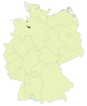 Map of Germany:Position of Bremen highlighted