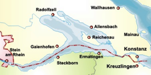 Untersee (Lake Constance) -  The Untersee, to the East, the Seerhein and parts of the Obersee are visible.   Yellow: German state of Baden-Württemberg, green: Swiss canton of Thurgau, red: Swiss Canton of Schaffhausen