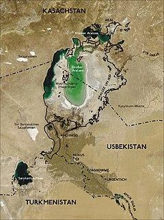 アラル海(2004年)黒線は1850年の湖岸線。湖付近の白いものは塩南西部の小さい湖はアムダリヤ流域での灌漑後の排水が本流に戻されることなく低地に溜まることによって増大の一途を辿るサリカミシュ湖である。