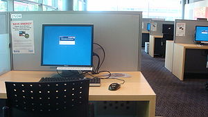 A typical computer station at the Kate Edger Information Commons at the University of Auckland.