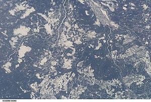 Kenogami River - Kenogami River from the International Space Station (diagonally at upper left corner)