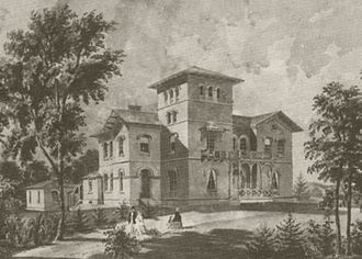Kenworthy Hall - Architectural watercolor of Kenworthy Hall done in 1858 by Upjohn's firm. Note the design for the original front porch.