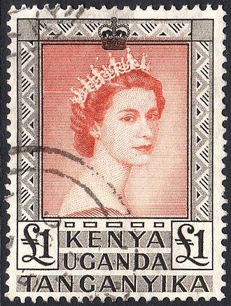 Queen of Uganda - Elizabeth II on Ugandan stamp, 1954
