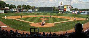 Veterans Memorial Stadium (Cedar Rapids) - Playing field at the new Veterans Memorial Stadium, during a June 22, 2008, game against the Quad Cities River Bandits