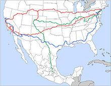Mappa dei viaggi fatti da Kerouac: in rosso quelli del 1947, in blu quelli del 1949, in verde quelli del 1950.