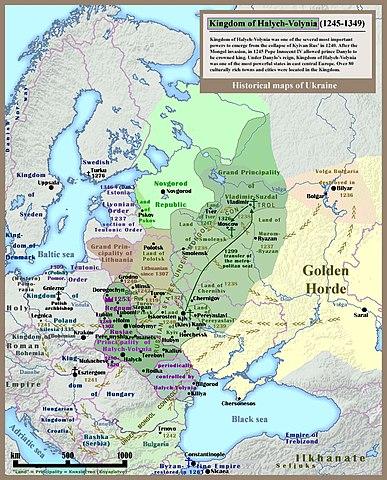 Галицко-Волынское княжество на карте Восточной Европы