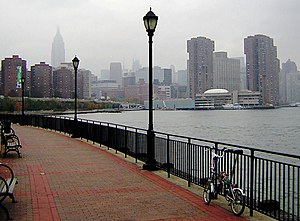 Looking north from Stuyvesant Cove Park on the East River to Waterside Plaza in Kips Bay on a drizzly day