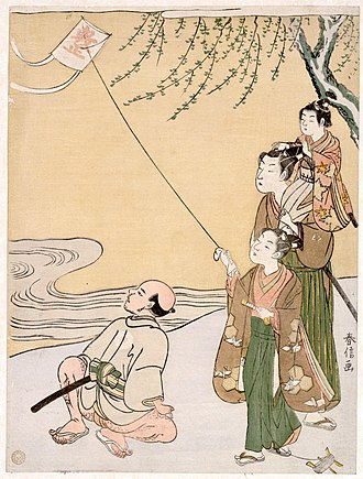 Kite - Kite Flying by Suzuki Harunobu, 1766 (Metropolitan Museum of Art)