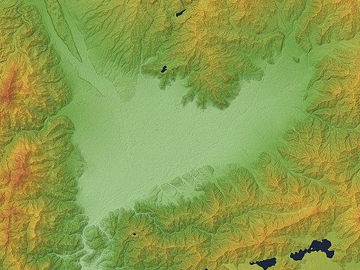 Kofu Basin Relief Map, SRTM-1