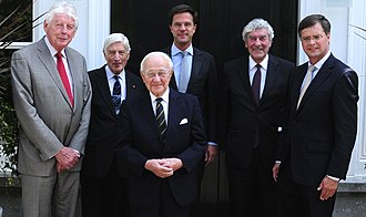 Prime Minister of the Netherlands - Living Prime Ministers of the Netherlands at a lunch organised by the incumbent Mark Rutte on 5 July 2011. From left to right: Wim Kok, Dries van Agt, Piet de Jong, Mark Rutte, Ruud Lubbers and Jan Peter Balkenende.